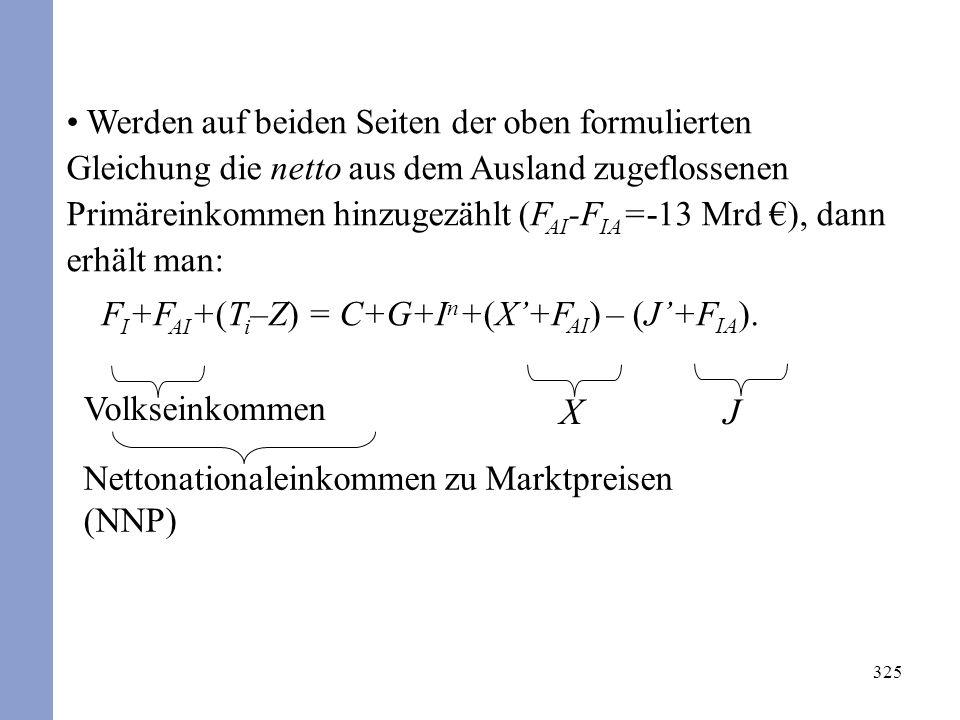 325 Werden auf beiden Seiten der oben formulierten Gleichung die netto aus dem Ausland zugeflossenen Primäreinkommen hinzugezählt (F AI -F IA =-13 Mrd