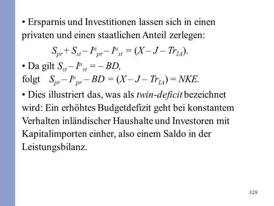 329 Ersparnis und Investitionen lassen sich in einen privaten und einen staatlichen Anteil zerlegen: S pr + S st – I n pr – I n st = (X – J – Tr IA ).