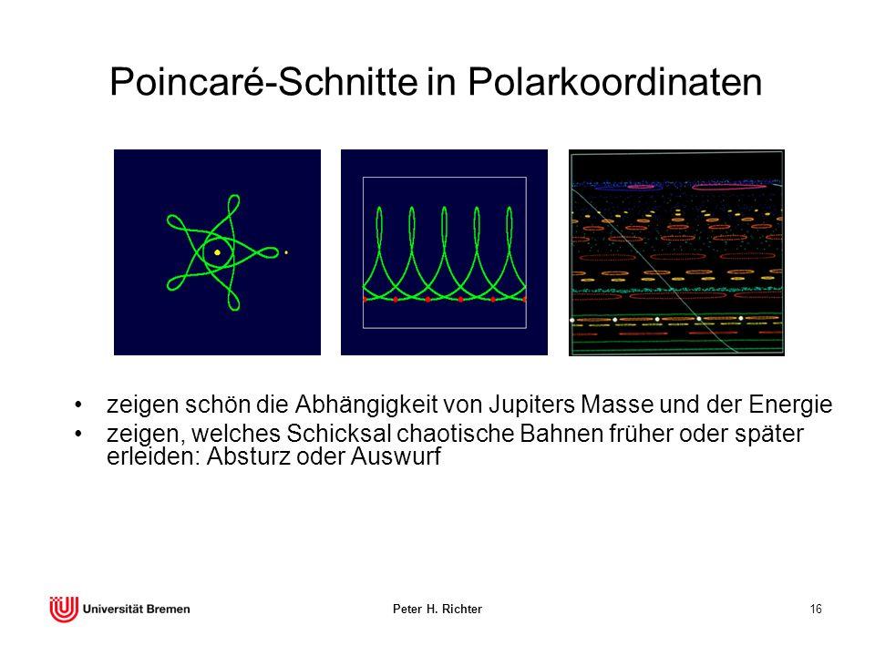 Peter H. Richter16 Poincaré-Schnitte in Polarkoordinaten zeigen schön die Abhängigkeit von Jupiters Masse und der Energie zeigen, welches Schicksal ch