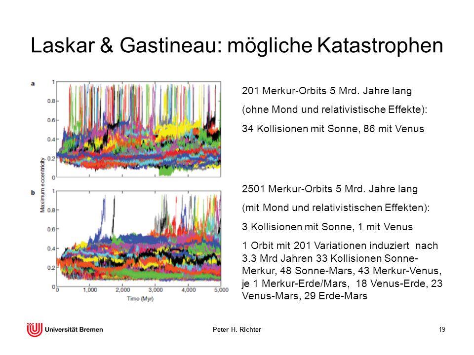 Peter H. Richter19 Laskar & Gastineau: mögliche Katastrophen 201 Merkur-Orbits 5 Mrd. Jahre lang (ohne Mond und relativistische Effekte): 34 Kollision