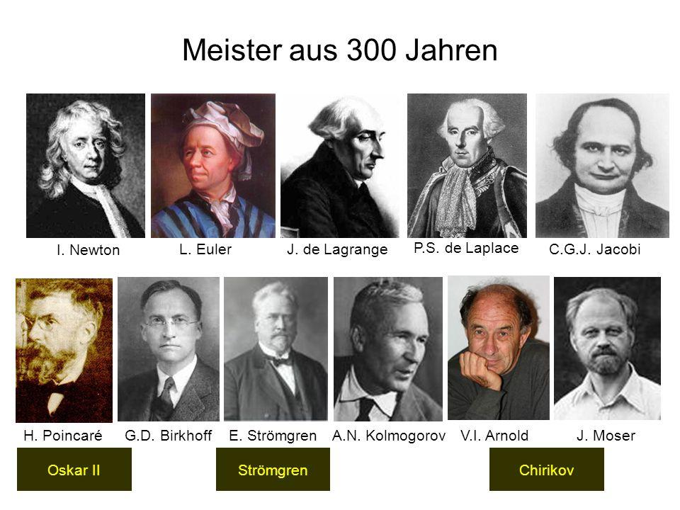 Meister aus 300 Jahren StrömgrenChirikov I. Newton C.G.J. Jacobi P.S. de Laplace J. de LagrangeL. Euler H. Poincaré G.D. Birkhoff E. StrömgrenA.N. Kol