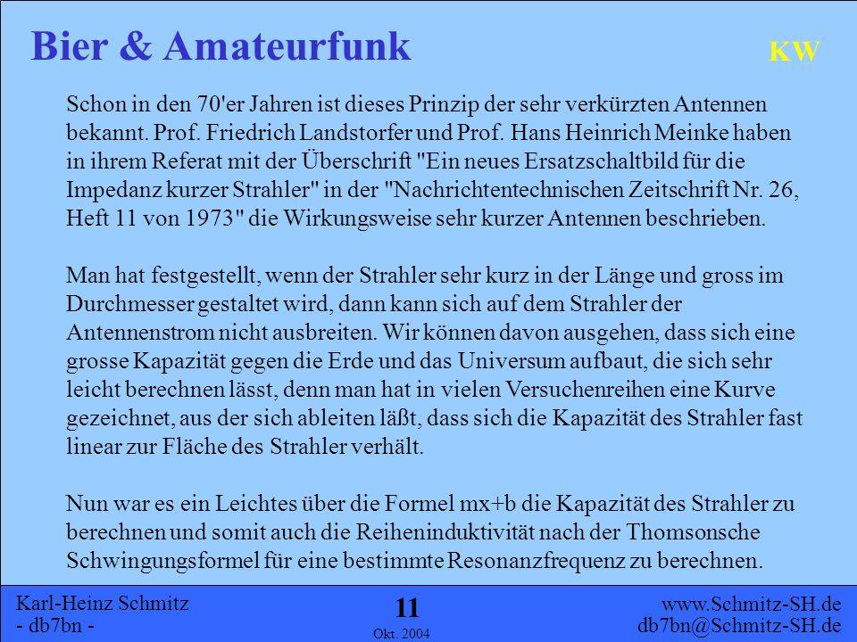 Karl-Heinz Schmitz - db7bn - Bier & Amateurfunk www.Schmitz-SH.de db7bn@Schmitz-SH.de Okt. 2004 10 KW Die Kölsch-Version