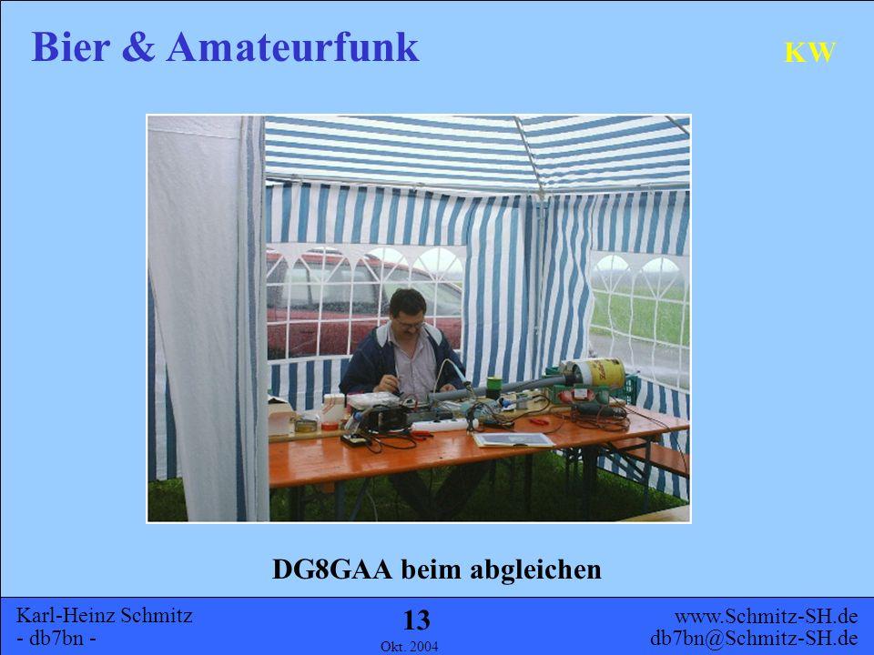 Karl-Heinz Schmitz - db7bn - Bier & Amateurfunk www.Schmitz-SH.de db7bn@Schmitz-SH.de Okt. 2004 12 KW DG8GAA