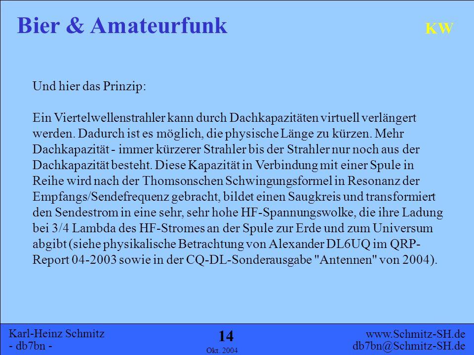 Karl-Heinz Schmitz - db7bn - Bier & Amateurfunk www.Schmitz-SH.de db7bn@Schmitz-SH.de Okt. 2004 13 KW DG8GAA beim abgleichen
