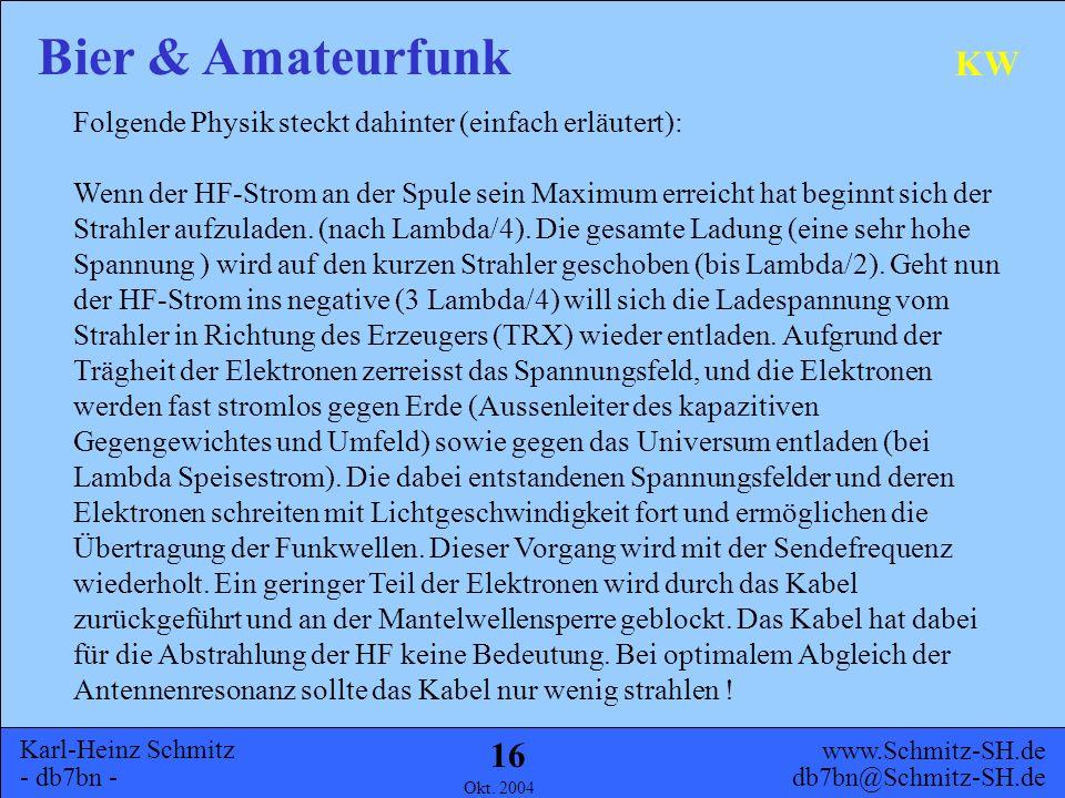 Karl-Heinz Schmitz - db7bn - Bier & Amateurfunk www.Schmitz-SH.de db7bn@Schmitz-SH.de Okt. 2004 15 KW DL2GTS
