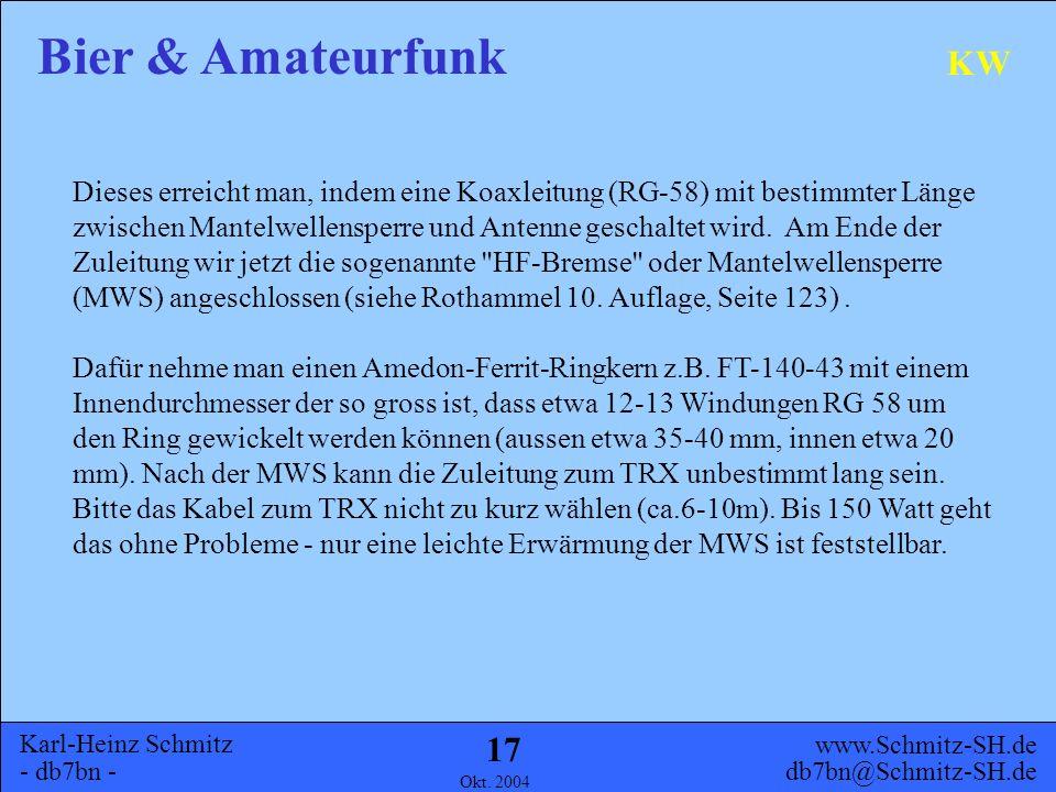 Karl-Heinz Schmitz - db7bn - Bier & Amateurfunk www.Schmitz-SH.de db7bn@Schmitz-SH.de Okt. 2004 16 KW Folgende Physik steckt dahinter (einfach erläute