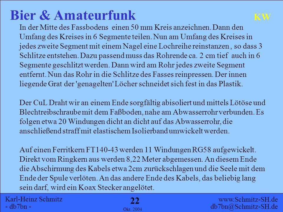Karl-Heinz Schmitz - db7bn - Bier & Amateurfunk www.Schmitz-SH.de db7bn@Schmitz-SH.de Okt. 2004 21 KW Material 5 l Partyfass 50mm Abwasserrohr RG58 Ko