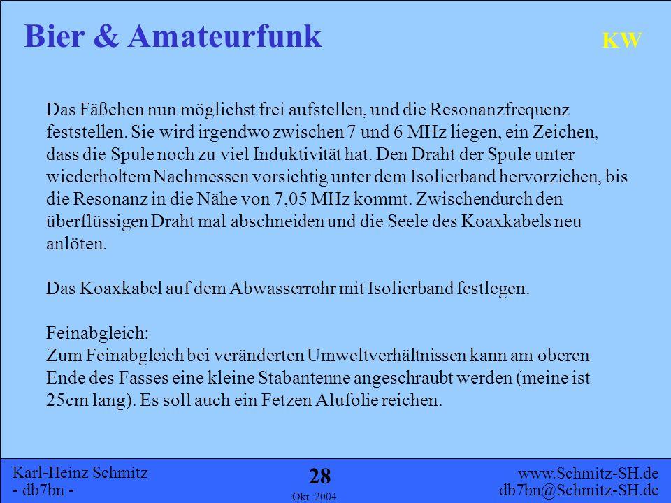 Karl-Heinz Schmitz - db7bn - Bier & Amateurfunk www.Schmitz-SH.de db7bn@Schmitz-SH.de Okt. 2004 27 KW Zwischen VOLL und LEER