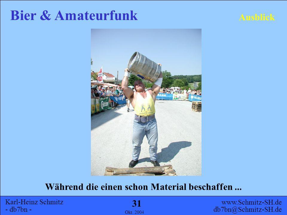 Karl-Heinz Schmitz - db7bn - Bier & Amateurfunk www.Schmitz-SH.de db7bn@Schmitz-SH.de Okt. 2004 30 Allgemeines Geschichte UHF KW Ausblick Inhalt