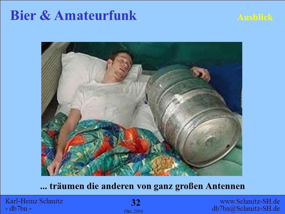 Karl-Heinz Schmitz - db7bn - Bier & Amateurfunk www.Schmitz-SH.de db7bn@Schmitz-SH.de Okt. 2004 31 Ausblick Während die einen schon Material beschaffe