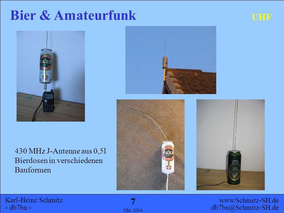 Karl-Heinz Schmitz - db7bn - Bier & Amateurfunk www.Schmitz-SH.de db7bn@Schmitz-SH.de Okt. 2004 6 Allgemeines Geschichte UHF KW Ausblick Inhalt