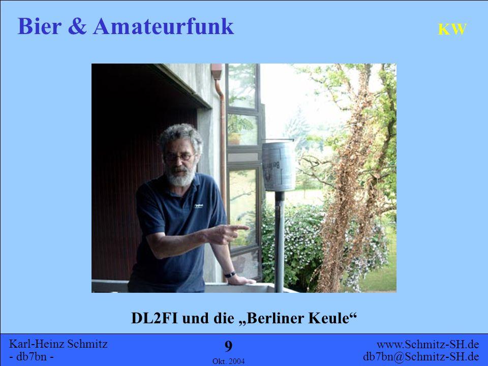 Karl-Heinz Schmitz - db7bn - Bier & Amateurfunk www.Schmitz-SH.de db7bn@Schmitz-SH.de Okt. 2004 8 Allgemeines Geschichte UHF KW Ausblick Inhalt