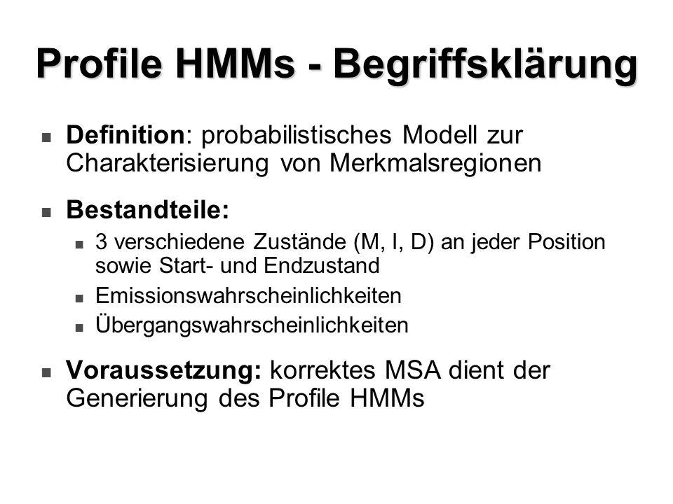 Profile HMMs - Begriffsklärung Definition: probabilistisches Modell zur Charakterisierung von Merkmalsregionen Bestandteile: 3 verschiedene Zustände (