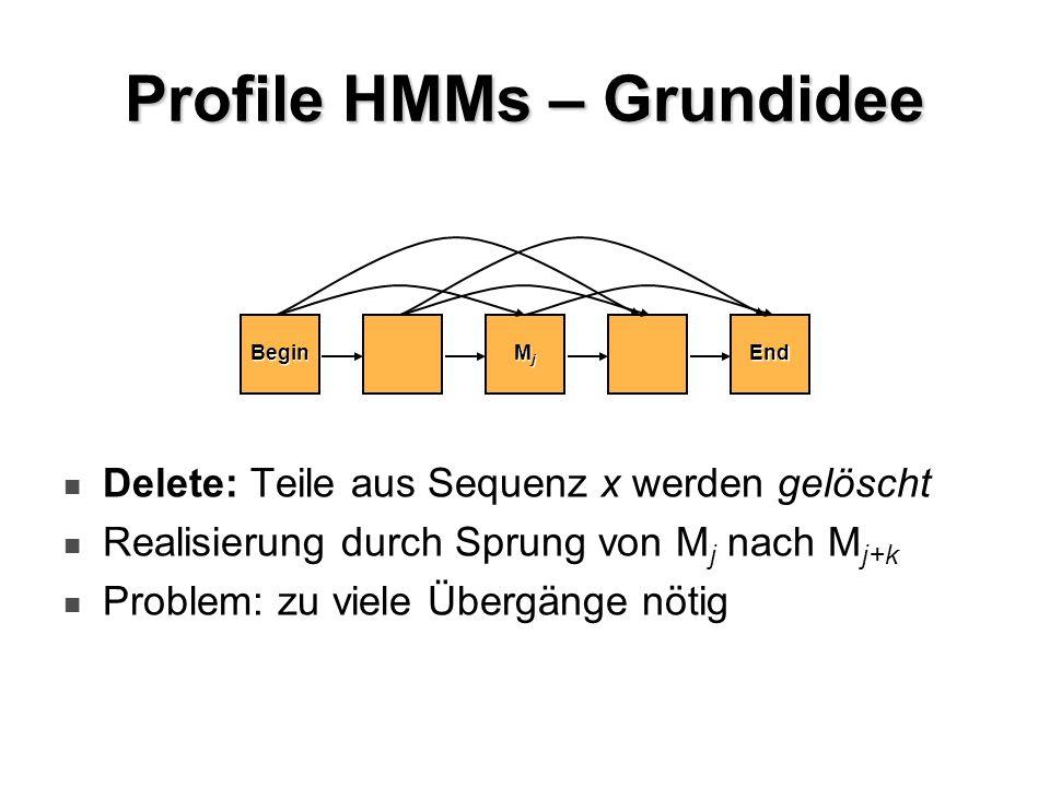Profile HMMs – Grundidee Delete: Teile aus Sequenz x werden gelöscht Realisierung durch Sprung von M j nach M j+k Problem: zu viele Übergänge nötig Be