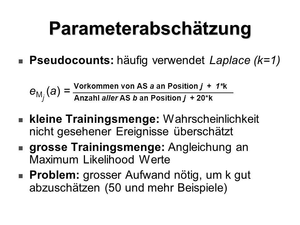 Parameterabschätzung Pseudocounts: häufig verwendet Laplace (k=1) e M j (a) = Vorkommen von AS a an Position j + 1*k Anzahl aller AS b an Position j +