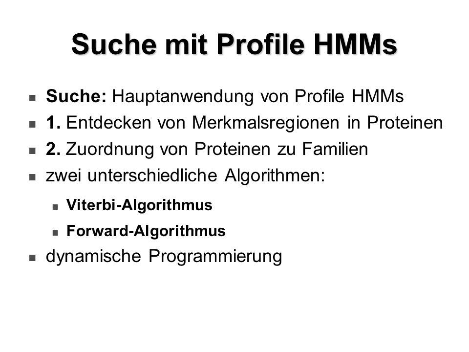 Suche mit Profile HMMs Suche: Hauptanwendung von Profile HMMs 1. Entdecken von Merkmalsregionen in Proteinen 2. Zuordnung von Proteinen zu Familien zw