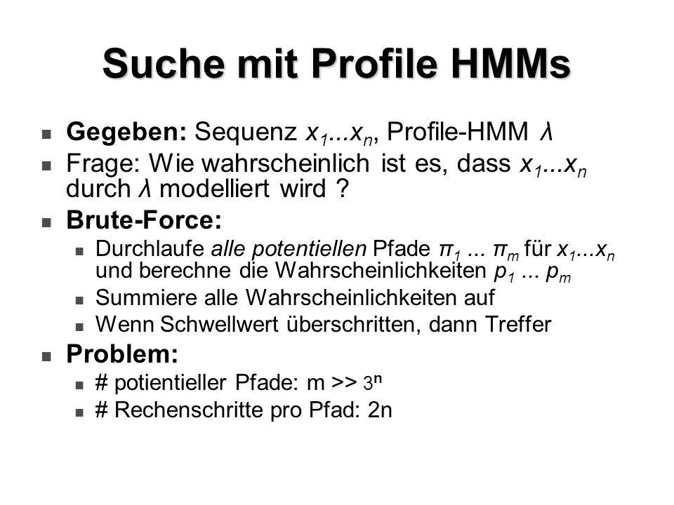 Suche mit Profile HMMs Gegeben: Sequenz x 1...x n, Profile-HMM λ Frage: Wie wahrscheinlich ist es, dass x 1...x n durch λ modelliert wird ? Brute-Forc