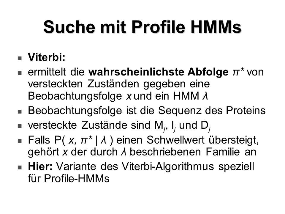 Suche mit Profile HMMs Viterbi: ermittelt die wahrscheinlichste Abfolge π* von versteckten Zuständen gegeben eine Beobachtungsfolge x und ein HMM λ Be