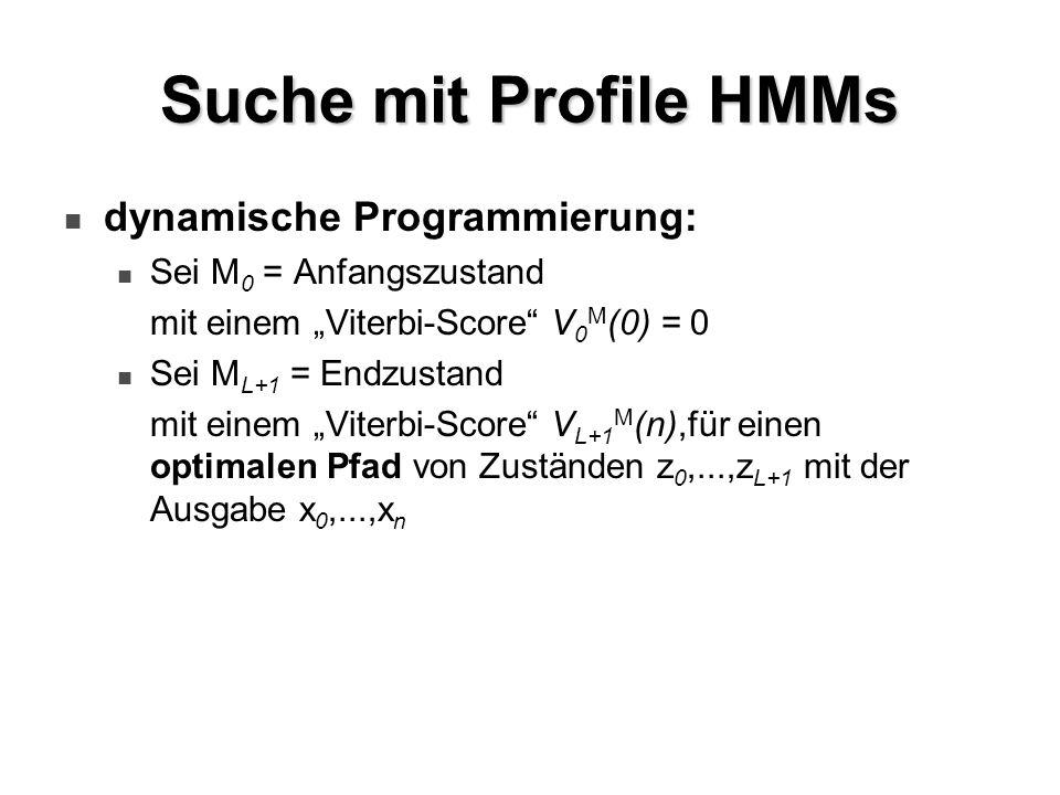 Suche mit Profile HMMs dynamische Programmierung: Sei M 0 = Anfangszustand mit einem Viterbi-Score V 0 M (0) = 0 Sei M L+1 = Endzustand mit einem Vite