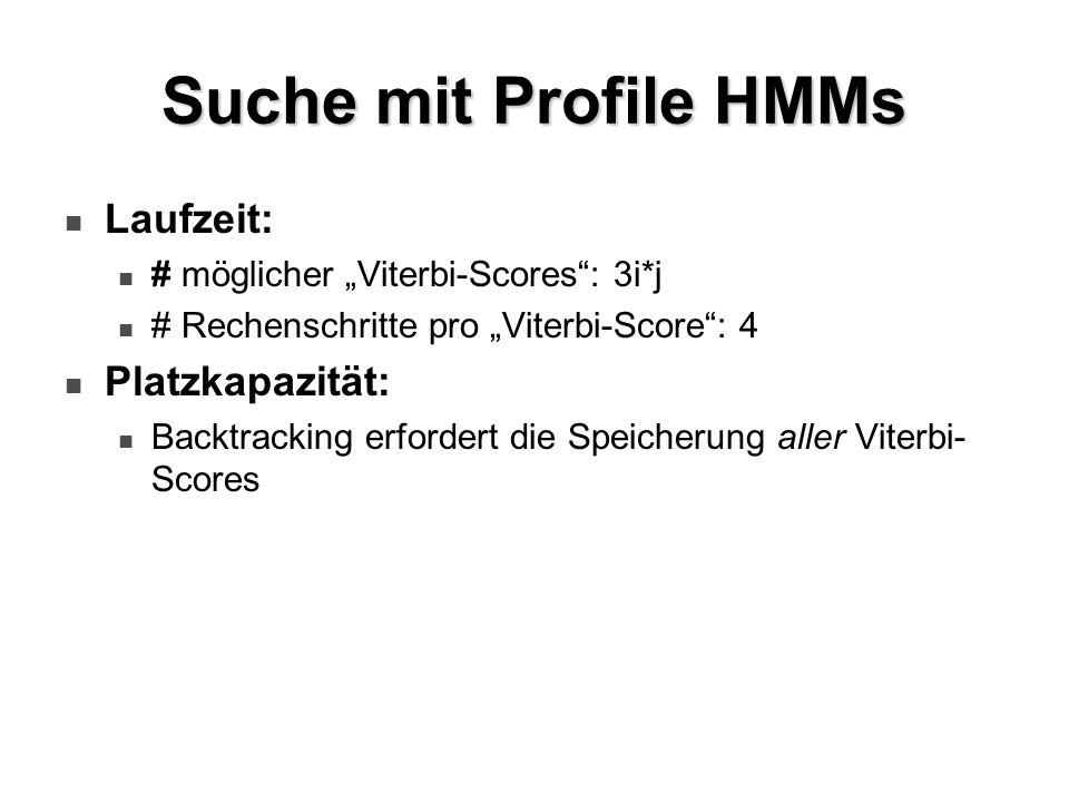 Suche mit Profile HMMs Laufzeit: # möglicher Viterbi-Scores: 3i*j # Rechenschritte pro Viterbi-Score: 4 Platzkapazität: Backtracking erfordert die Spe