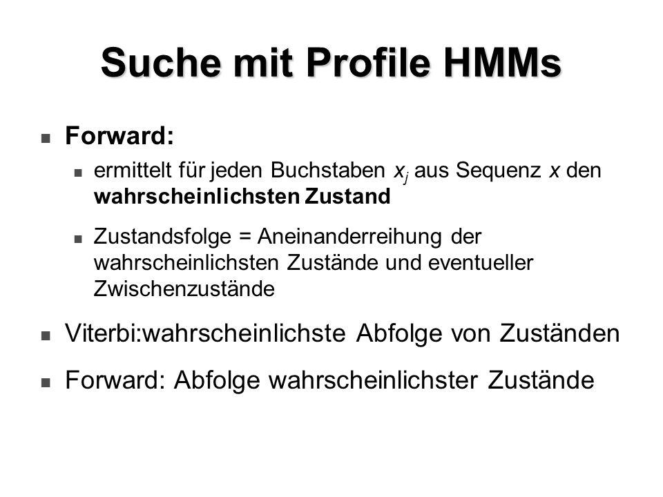 Suche mit Profile HMMs Forward: ermittelt für jeden Buchstaben x j aus Sequenz x den wahrscheinlichsten Zustand Zustandsfolge = Aneinanderreihung der