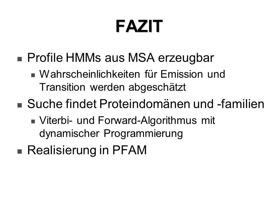 FAZIT Profile HMMs aus MSA erzeugbar Wahrscheinlichkeiten für Emission und Transition werden abgeschätzt Suche findet Proteindomänen und -familien Vit