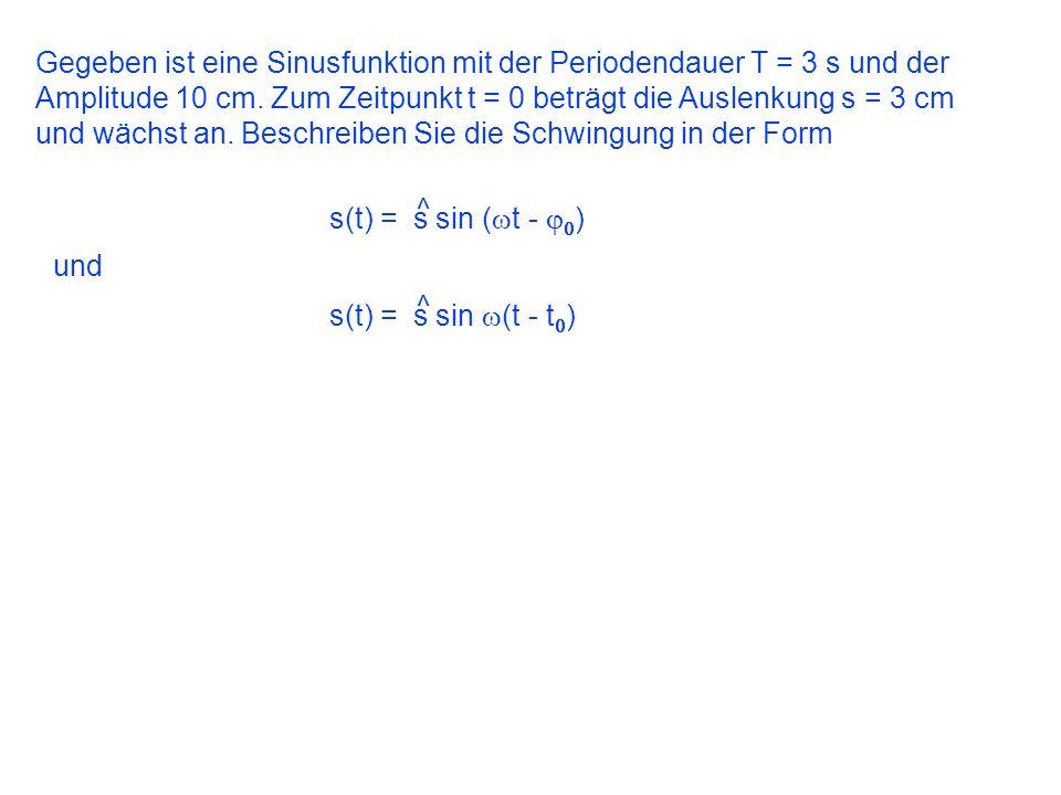 Gegeben ist eine Sinusfunktion mit der Periodendauer T = 3 s und der Amplitude 10 cm. Zum Zeitpunkt t = 0 beträgt die Auslenkung s = 3 cm und wächst a