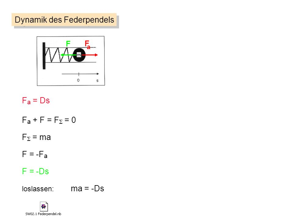 F a = Ds F = ma F = -F a loslassen: ma = -Ds F = -Ds F a + F = F = 0