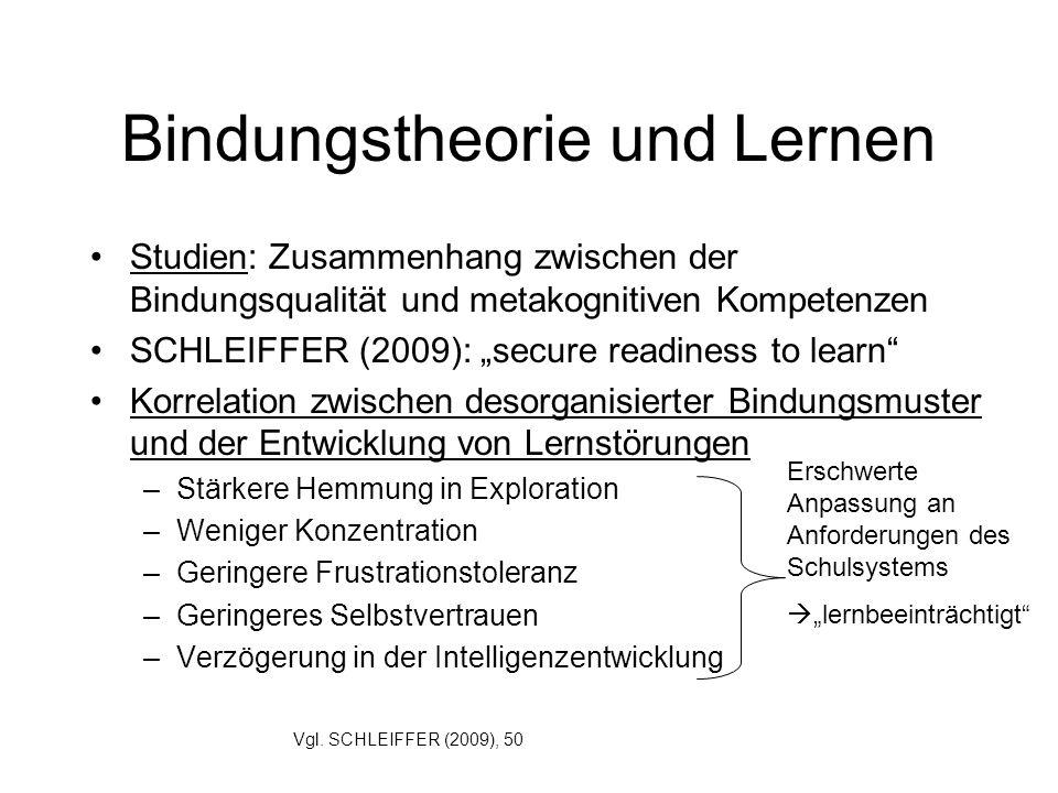 Bindungstheorie und Lernen Studien: Zusammenhang zwischen der Bindungsqualität und metakognitiven Kompetenzen SCHLEIFFER (2009): secure readiness to l