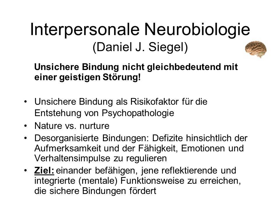 Interpersonale Neurobiologie (Daniel J. Siegel) Unsichere Bindung nicht gleichbedeutend mit einer geistigen Störung! Unsichere Bindung als Risikofakto