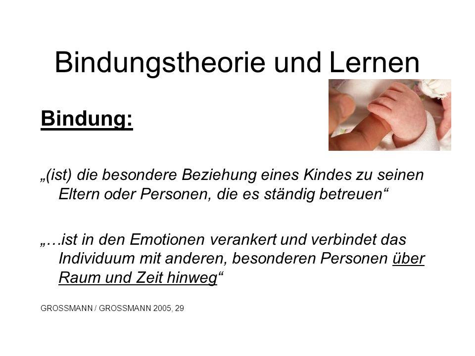 Bindungstheorie und Lernen Bindung: (ist) die besondere Beziehung eines Kindes zu seinen Eltern oder Personen, die es ständig betreuen …ist in den Emo