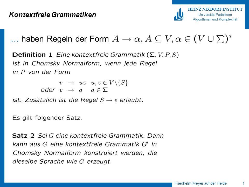 Friedhelm Meyer auf der Heide 1 HEINZ NIXDORF INSTITUT Universität Paderborn Algorithmen und Komplexität Kontextfreie Grammatiken … haben Regeln der F