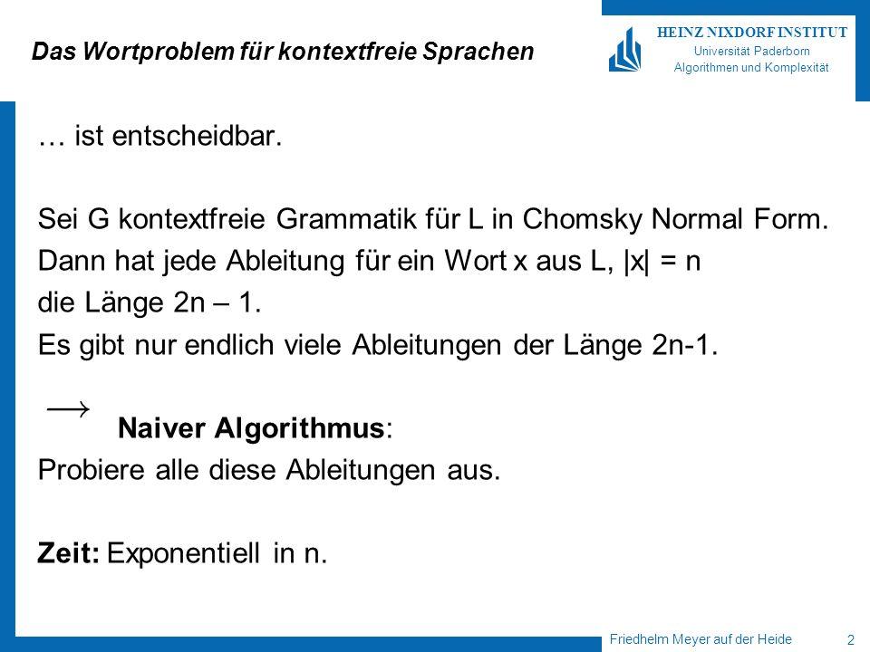Friedhelm Meyer auf der Heide 3 HEINZ NIXDORF INSTITUT Universität Paderborn Algorithmen und Komplexität Der Algorithmus von Cocke, Younger, Kasami Der CYK-Algorithmus.