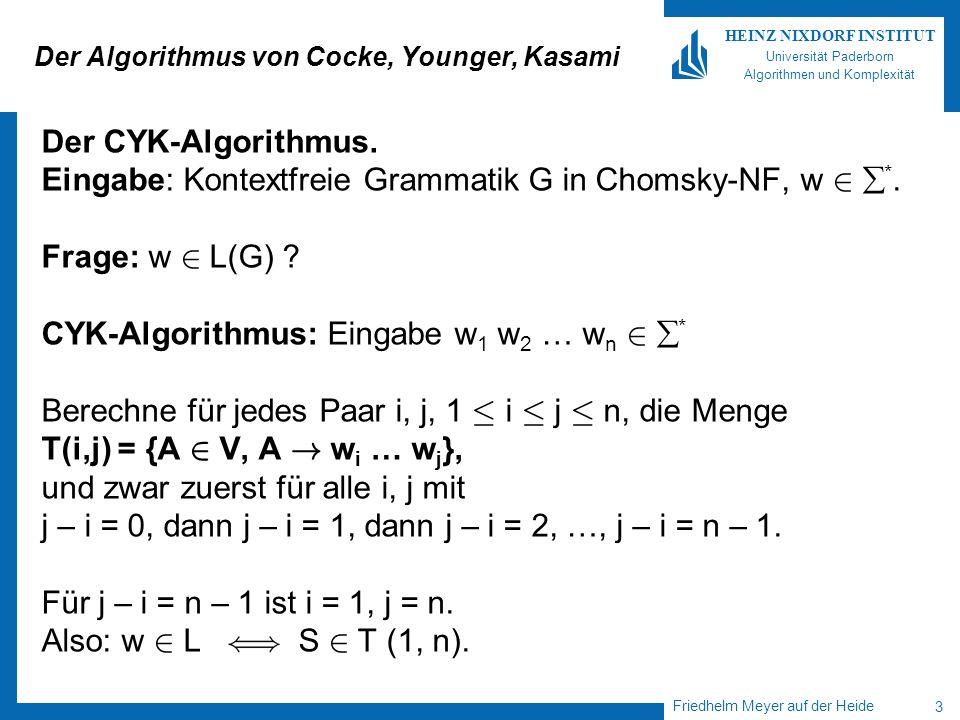 Friedhelm Meyer auf der Heide 4 HEINZ NIXDORF INSTITUT Universität Paderborn Algorithmen und Komplexität CYK-Algorithmus/Fortsetzung Wie berechnet man T (i,j).