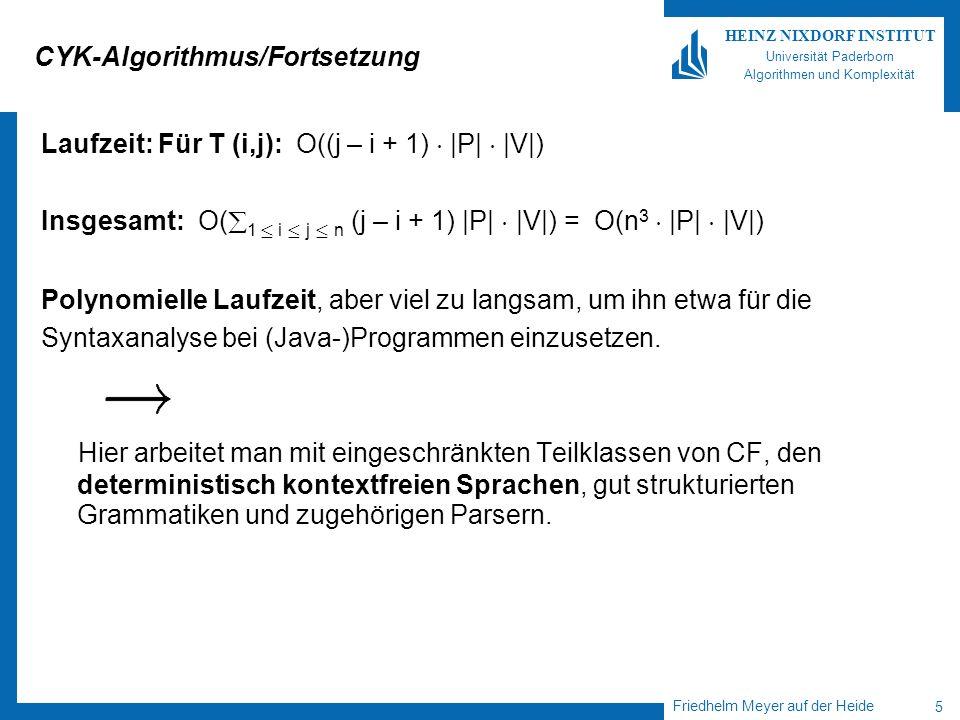 Friedhelm Meyer auf der Heide 5 HEINZ NIXDORF INSTITUT Universität Paderborn Algorithmen und Komplexität CYK-Algorithmus/Fortsetzung Laufzeit: Für T (