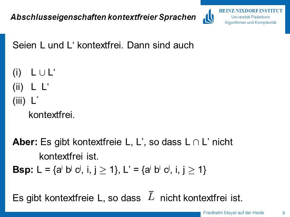 Friedhelm Meyer auf der Heide 9 HEINZ NIXDORF INSTITUT Universität Paderborn Algorithmen und Komplexität Abschlusseigenschaften kontextfreier Sprachen