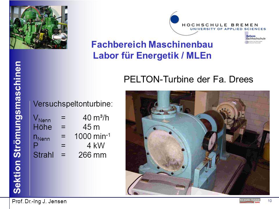 10 Sektion Strömungsmaschinen Prof. Dr.-Ing J. Jensen Fachbereich Maschinenbau Labor für Energetik / MLEn PELTON-Turbine der Fa. Drees Versuchspeltont