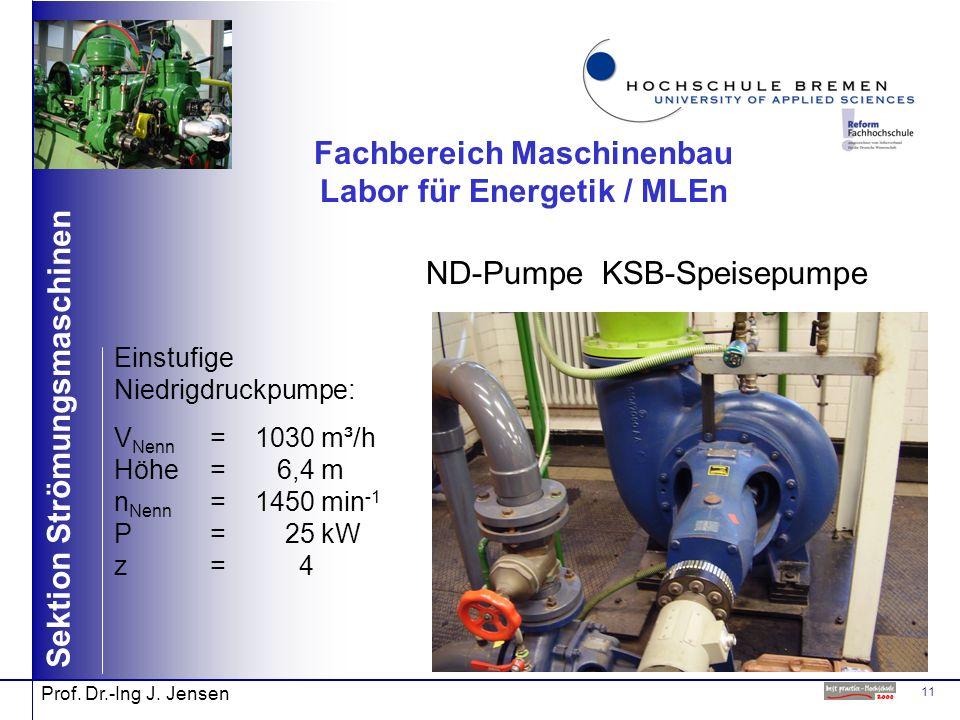 11 Sektion Strömungsmaschinen Prof. Dr.-Ing J. Jensen Fachbereich Maschinenbau Labor für Energetik / MLEn ND-Pumpe KSB-Speisepumpe Einstufige Niedrigd