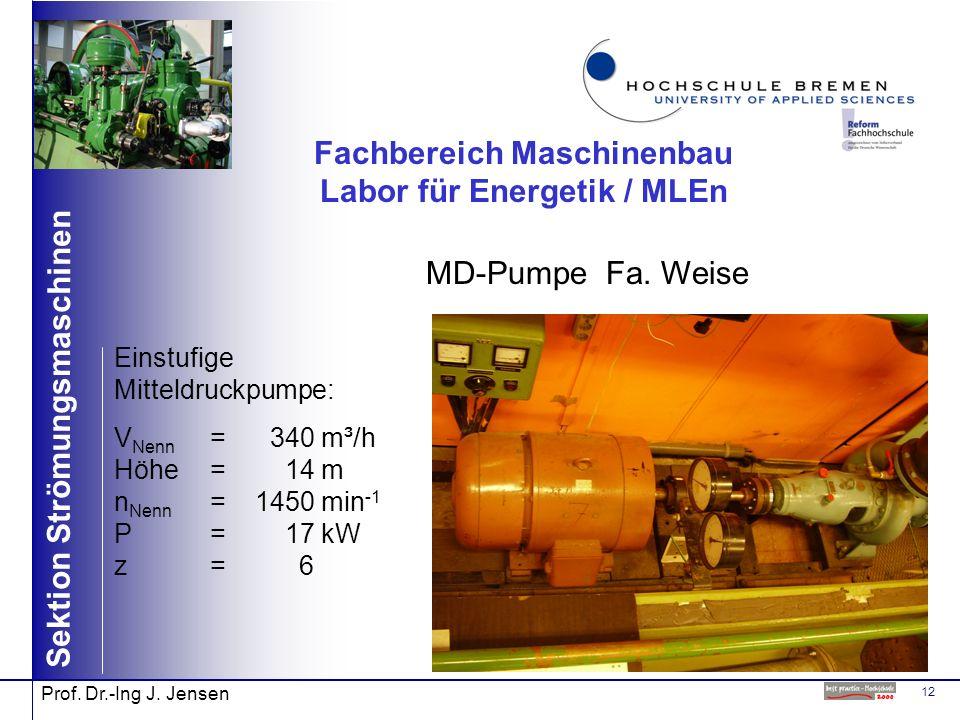 12 Sektion Strömungsmaschinen Prof. Dr.-Ing J. Jensen Fachbereich Maschinenbau Labor für Energetik / MLEn MD-Pumpe Fa. Weise Einstufige Mitteldruckpum