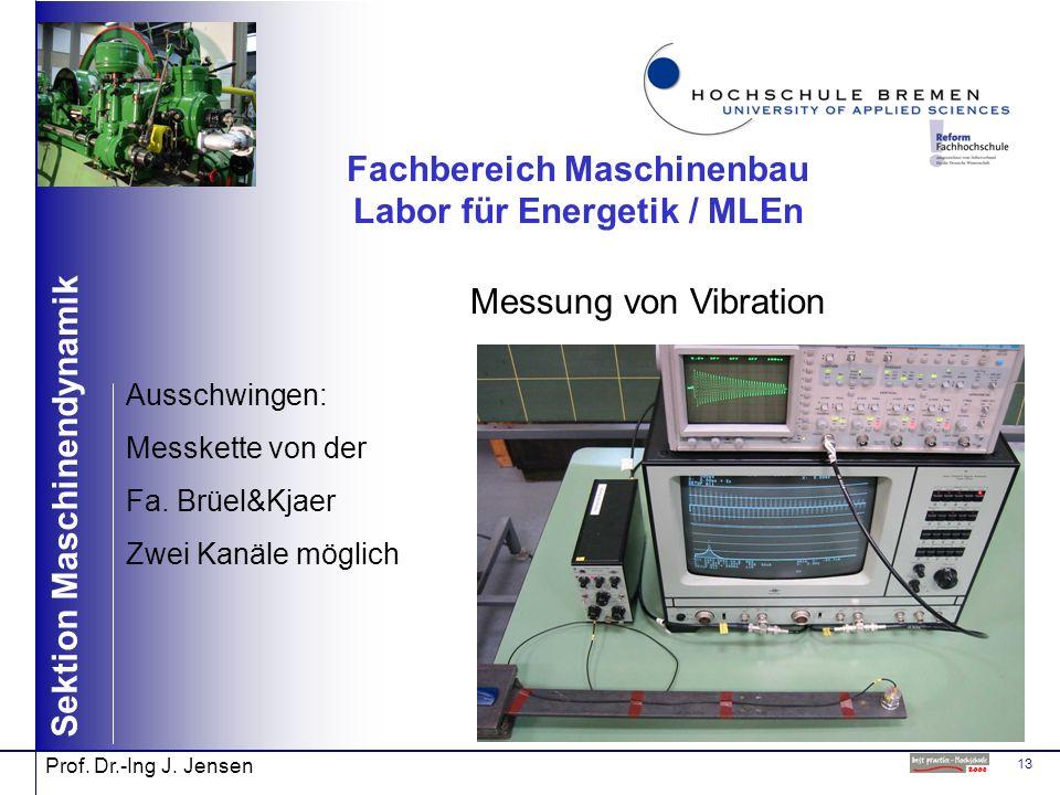 13 Sektion Maschinendynamik Prof. Dr.-Ing J. Jensen Fachbereich Maschinenbau Labor für Energetik / MLEn Messung von Vibration Ausschwingen: Messkette