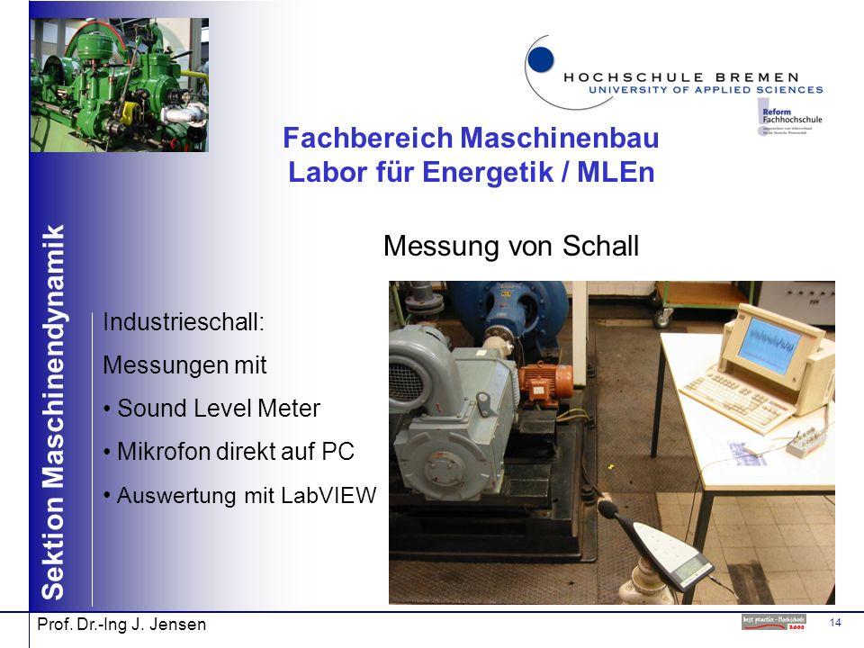 14 Sektion Maschinendynamik Prof. Dr.-Ing J. Jensen Fachbereich Maschinenbau Labor für Energetik / MLEn Messung von Schall Industrieschall: Messungen