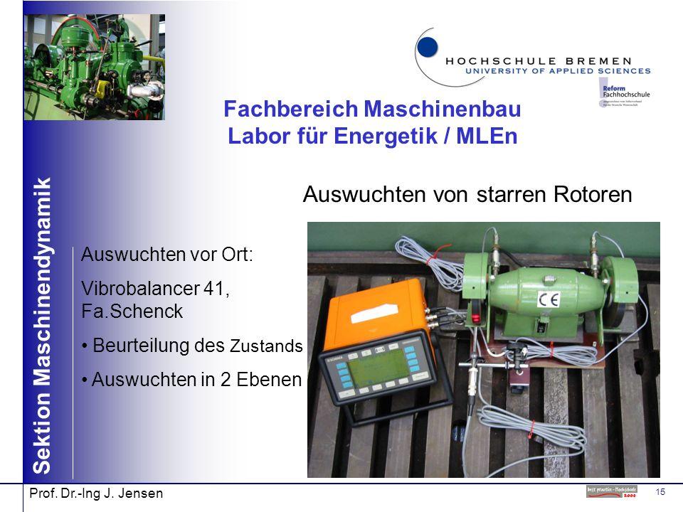 15 Sektion Maschinendynamik Prof. Dr.-Ing J. Jensen Fachbereich Maschinenbau Labor für Energetik / MLEn Auswuchten von starren Rotoren Auswuchten vor