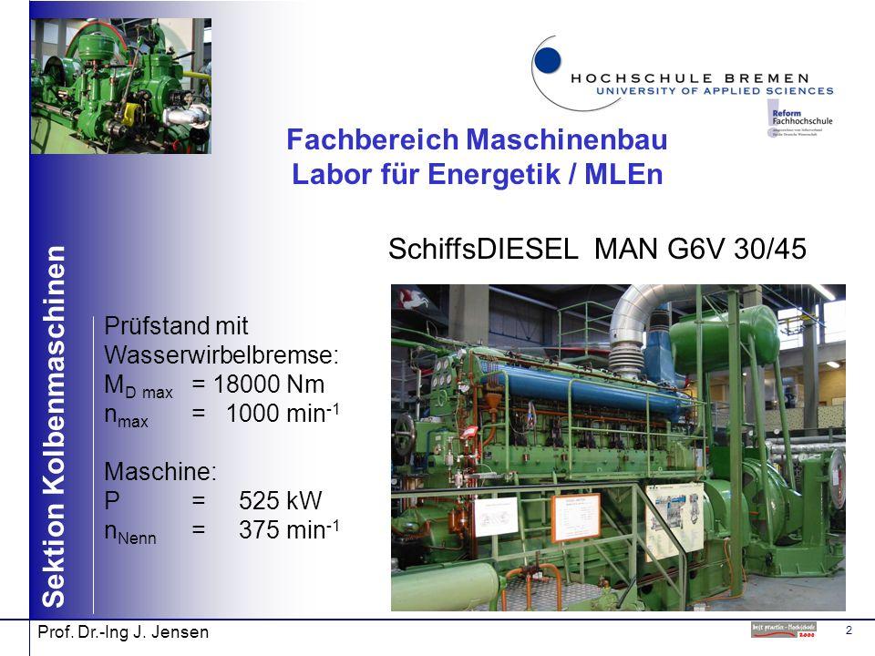 2 Sektion Kolbenmaschinen Prof. Dr.-Ing J. Jensen Fachbereich Maschinenbau Labor für Energetik / MLEn SchiffsDIESEL MAN G6V 30/45 Prüfstand mit Wasser