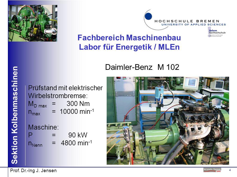 4 Sektion Kolbenmaschinen Prof. Dr.-Ing J. Jensen Fachbereich Maschinenbau Labor für Energetik / MLEn Daimler-Benz M 102 Prüfstand mit elektrischer Wi