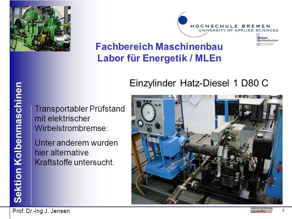 5 Sektion Kolbenmaschinen Prof. Dr.-Ing J. Jensen Fachbereich Maschinenbau Labor für Energetik / MLEn Einzylinder Hatz-Diesel 1 D80 C Transportabler P