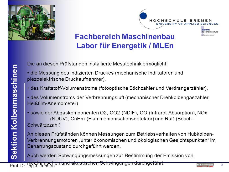 8 Sektion Kolbenmaschinen Prof. Dr.-Ing J. Jensen Fachbereich Maschinenbau Labor für Energetik / MLEn Die an diesen Prüfständen installierte Messtechn
