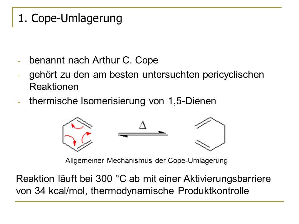2.Oxy-Cope-Umlagerung anionische Variante Hierbei wird von einem in 3- oder 4-Stellung hydroxy- substituierten 1,5-Dien ausgegangen, welches durch thermische Isomerisierung in ein instabiles Enol umgelagert wird, und dieses sofort durch irreversible Tautomerisierung zum Aldehyd oder Keton weiterreagiert.