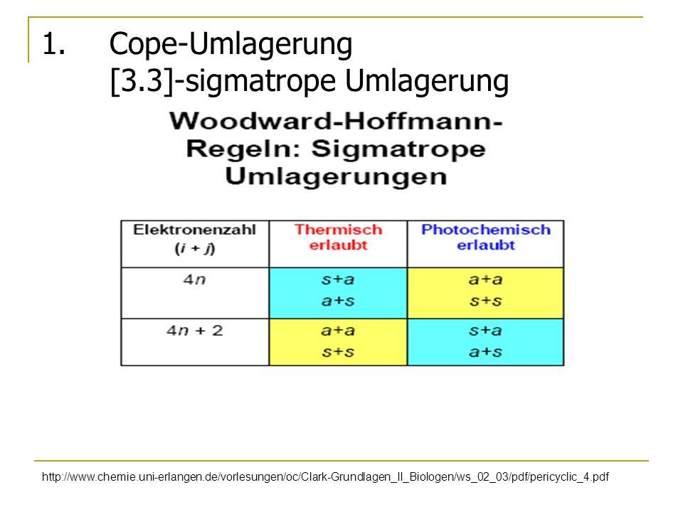 1. Cope-Umlagerung [3.3]-sigmatrope Umlagerung http://www.chemie.uni-erlangen.de/vorlesungen/oc/Clark-Grundlagen_II_Biologen/ws_02_03/pdf/pericyclic_4