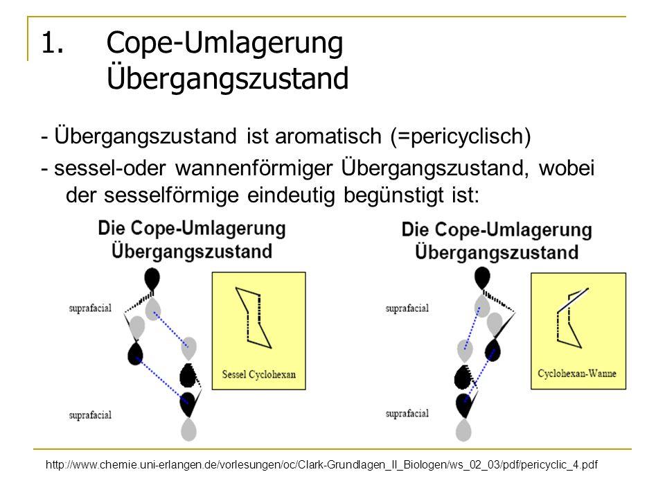 1. Cope-Umlagerung Übergangszustand - Übergangszustand ist aromatisch (=pericyclisch) - sessel-oder wannenförmiger Übergangszustand, wobei der sesself