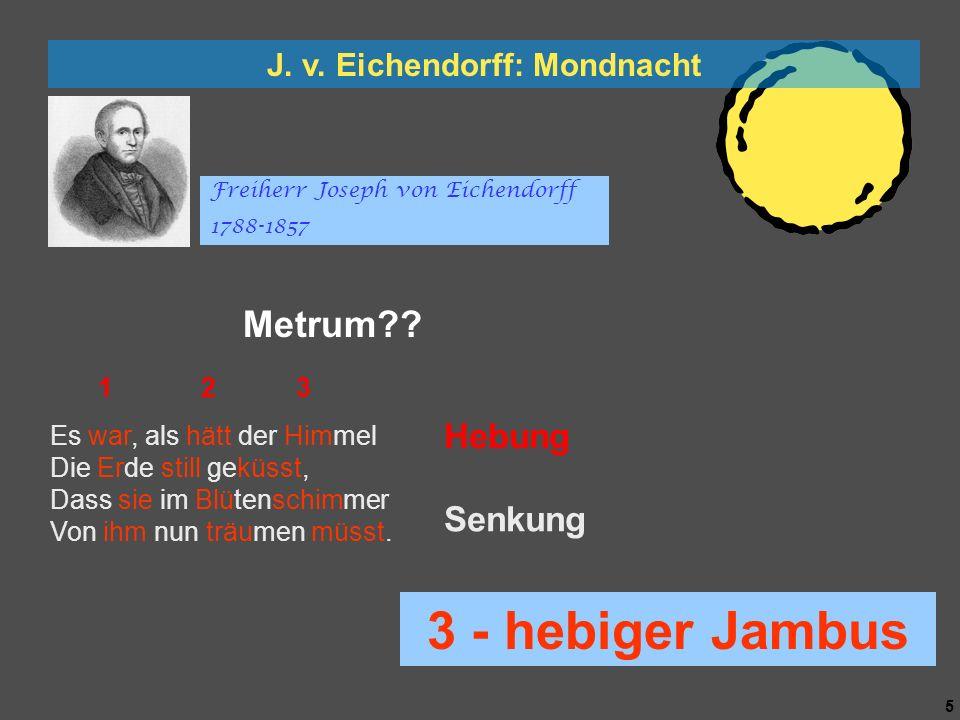 4 4 J. v. Eichendorff: Mondnacht Es war, als hätt der Himmel Die Erde still geküsst, Dass sie im Blütenschimmer Von ihm nun träumen müsst. Die Luft gi